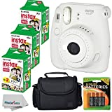 Fujifilm Instax Mini 8+ (Vanilla)Instant Film Camera W/ Self Shot Mirror + Fujifilm Instax Mini 3 Pack Instant Film(60 Shoots) + Case + Batteries Top Kit - International Version (No Warranty)