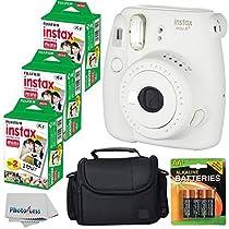 Fujifilm Instax Mini 8+ (Vanilla)Instant Film Camera W/ Self Shot Mirror + Fujifilm Instax Mini 3 Pack Instant Film(60 Shoots) + Case + Batteries Top Kit - International Version (No Warranty)