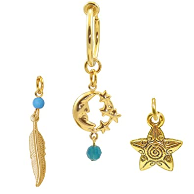 Gold Color Clear Drop Fake Belly Button Ring Clip On Hoop Earring Non Pierce