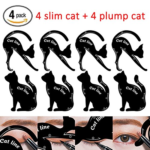 Cat Eyeliner Stencil Smoky Eyeshadow Applicators Template Plate Multifunction Cat Shape Eye liner Eye Shadow Guide Repeatable Professional Eye Makeup Card Tools Matte PVC Material Black 4 Pack
