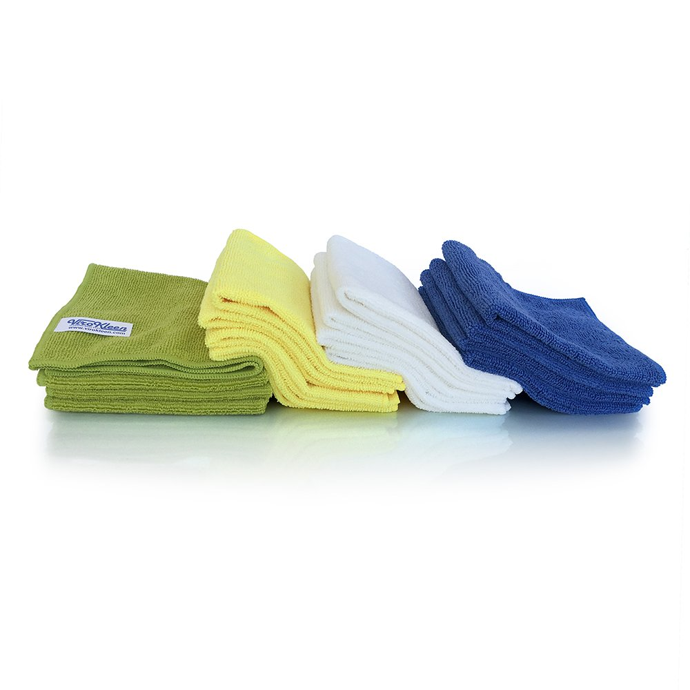 ViroKleen Microfiber Cleaning Cloth 12Qty Cleans with Very Little Effort, Ideal for Cleaning & Dusting your Valuable Goods from Electronics, Glass, IPad, TV Screens, Kitchen, Car, Furniture Polishing by ViroKleen (Image #2)