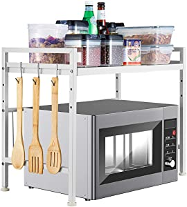 i BKGOO Expandable White Microwave Oven Rack Shelf Kitchen Supplies Tableware Storage Carbon Stainless Steel Counter Rice Cooker Stand Contains 2 Tiers with 3 Hooks H Type