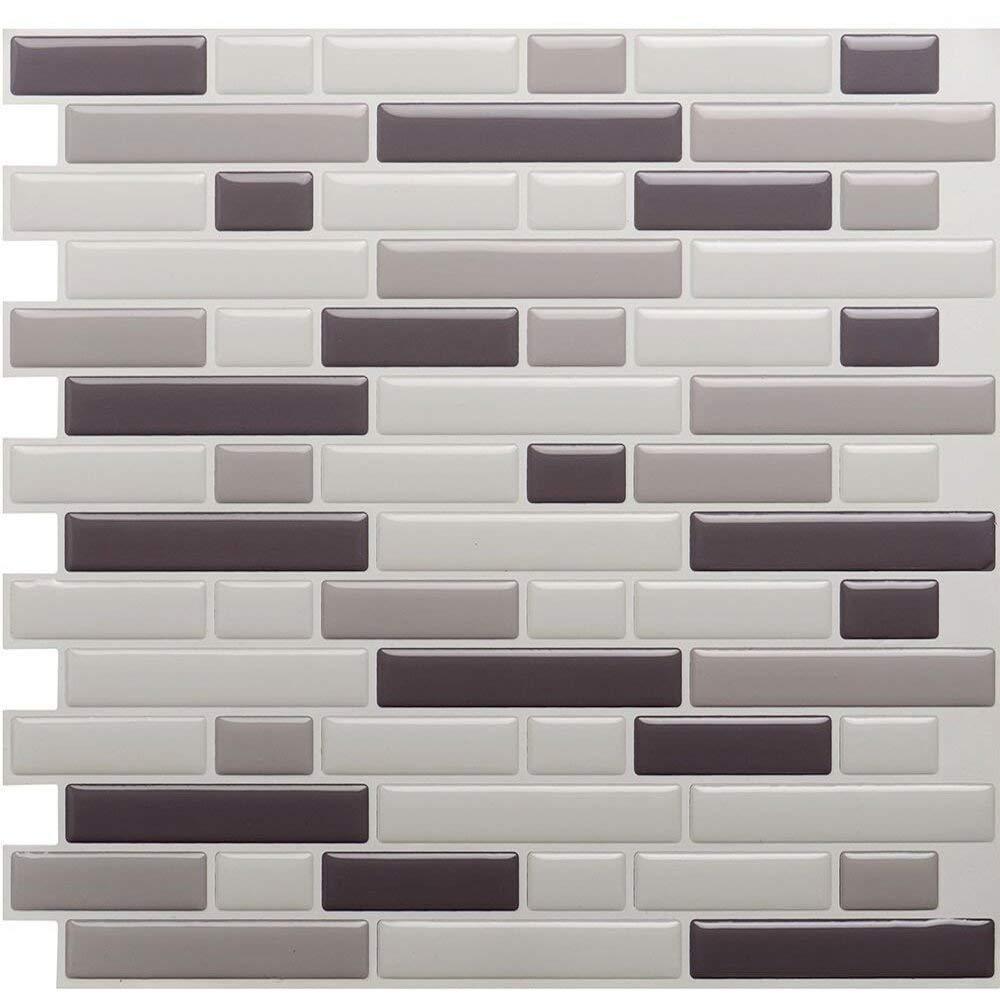 Vamos Tile Premium Anti Mold Peel and Stick Tile Backsplash, Stick On Backsplash Wall Tiles for Kitchen & Bathroom-Removable, Self Adhesive-11 x 9.2 (6 Sheets)