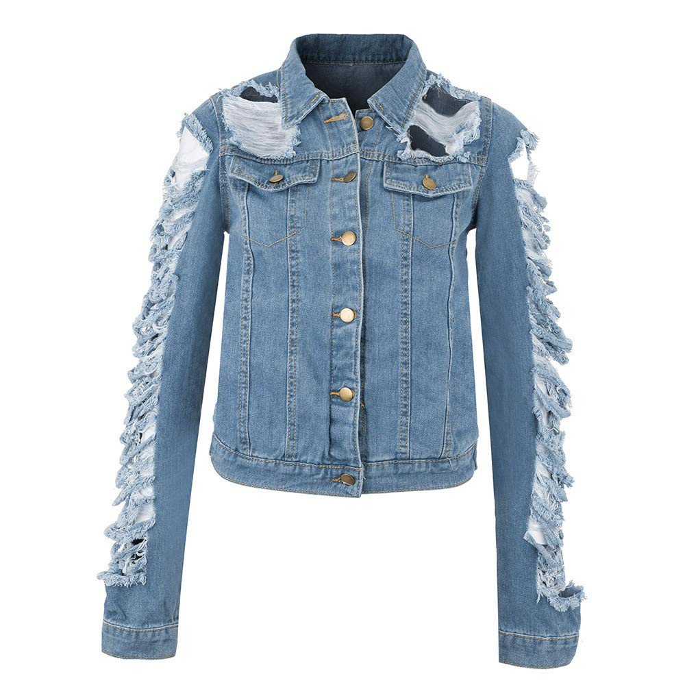 BCDshop Women Short Denim Jackets Fashion Cowboy Coat Pockets Ripped Distressed Button Jean Jacket
