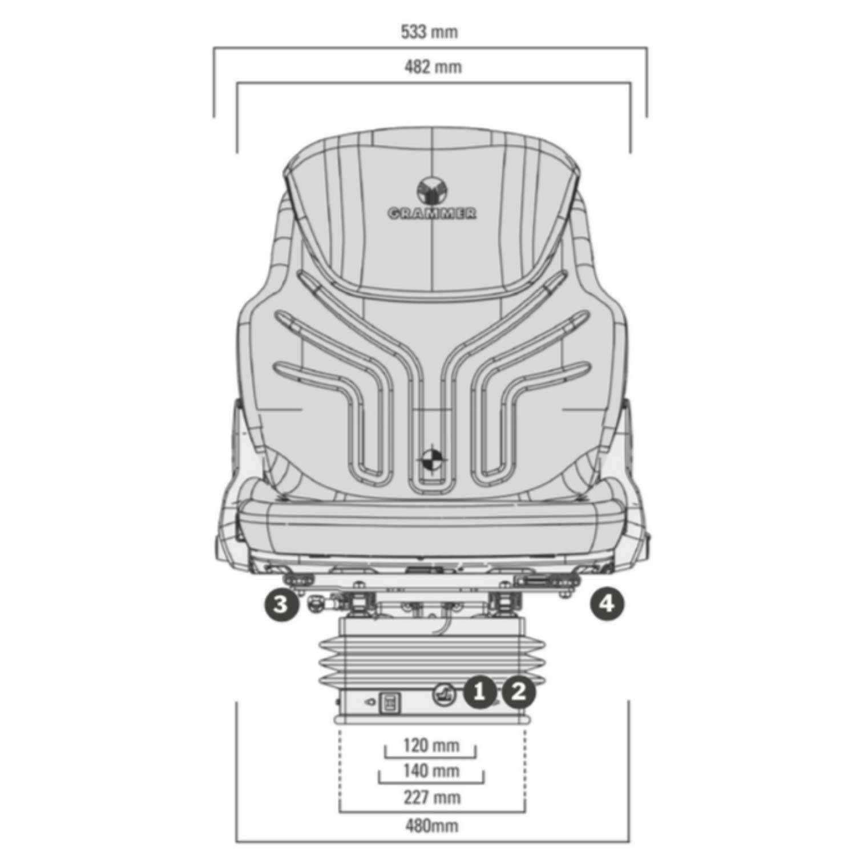 GRAMMER Compacto Comfort S aus Kunstleder 1081368 schwarz Sitz f/ür Traktor//Schlepper MSG 93//511,