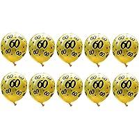 Fontee® 20 Piezas 12 Pulgadas Látex 60 Cumpleaños Globos Dorados, 60 Numero Cumpleaños Globos, 60 Aniversario Bodas Oro…