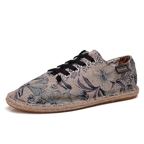 Zapatos con Cordones Lona Caqui Alpargatas para Hombre Lino Espadrilles: Amazon.es: Zapatos y complementos
