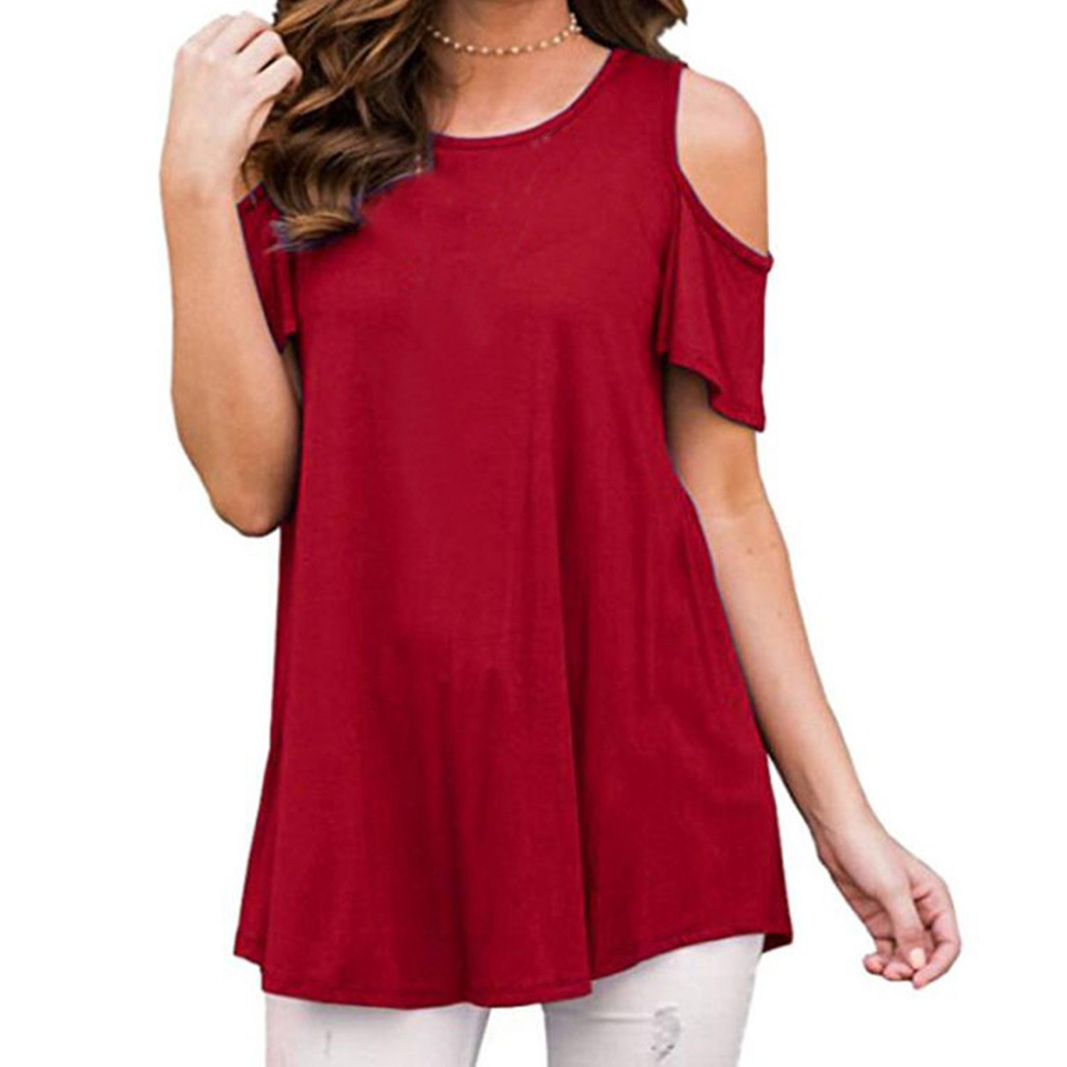 Sufiya Loose Blouse Casual Shirts Cutted up Shoulder Short Sleeve Tunic Tops