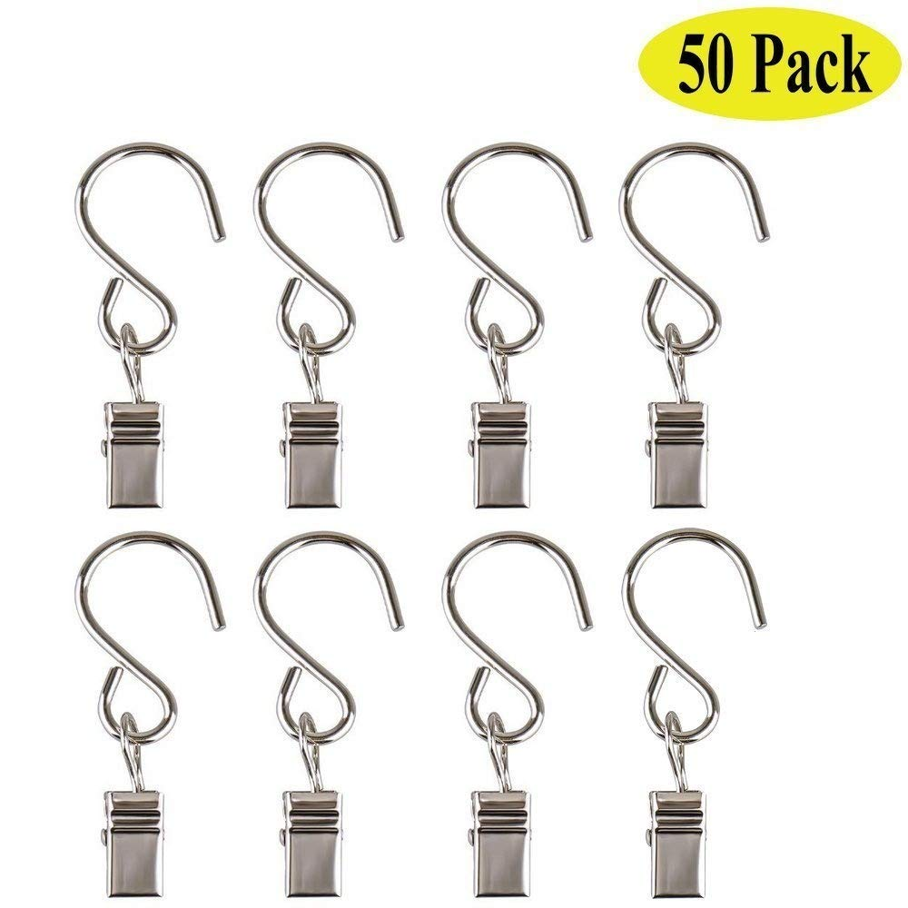 50 Pack Stainless Steel Curtain Clip Shower Curtain Rings Outdoor Activities Wire-Party Supplies By E-UNIONA