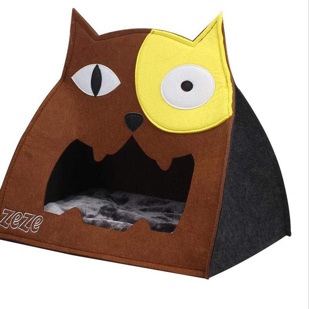 BROWN TD Pet Nest Four Seasons Semi-closed Felt Nest Removable Pet Products Cat House Cat Nest