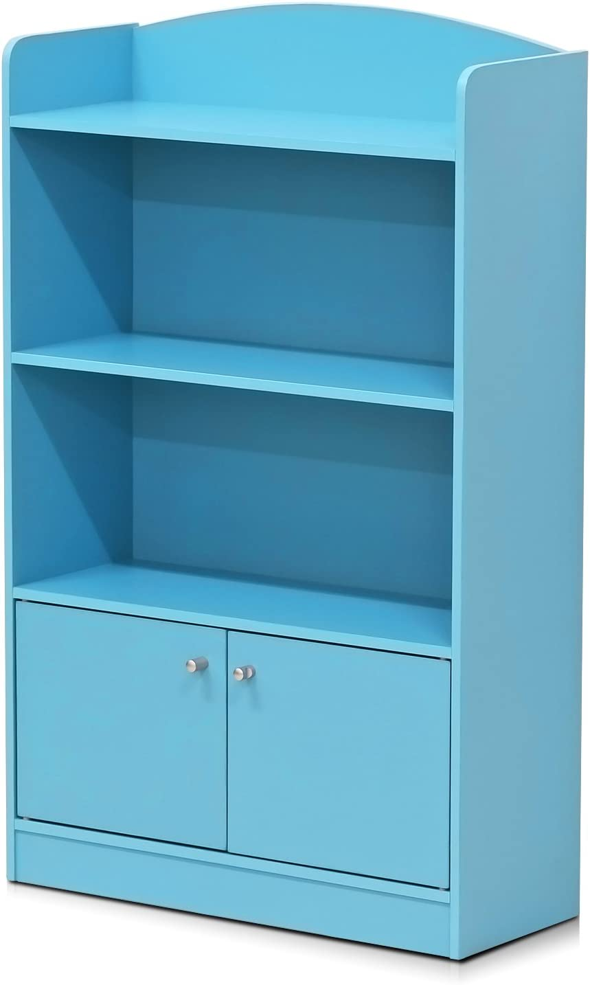 FURINNO Bookcases, Wood, Light Blue, one size