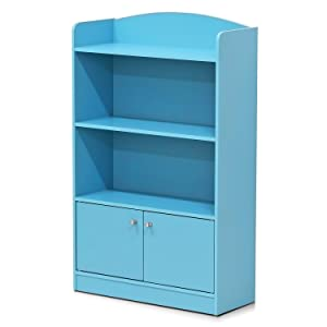 Furinno FR16121LB Stylish Kidkanac Bookshelf with Storage Cabinet Light Blue