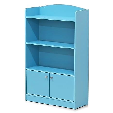 Furinno FR16121LB Stylish Kidkanac Bookshelf With Storage Cabinet Light Blue
