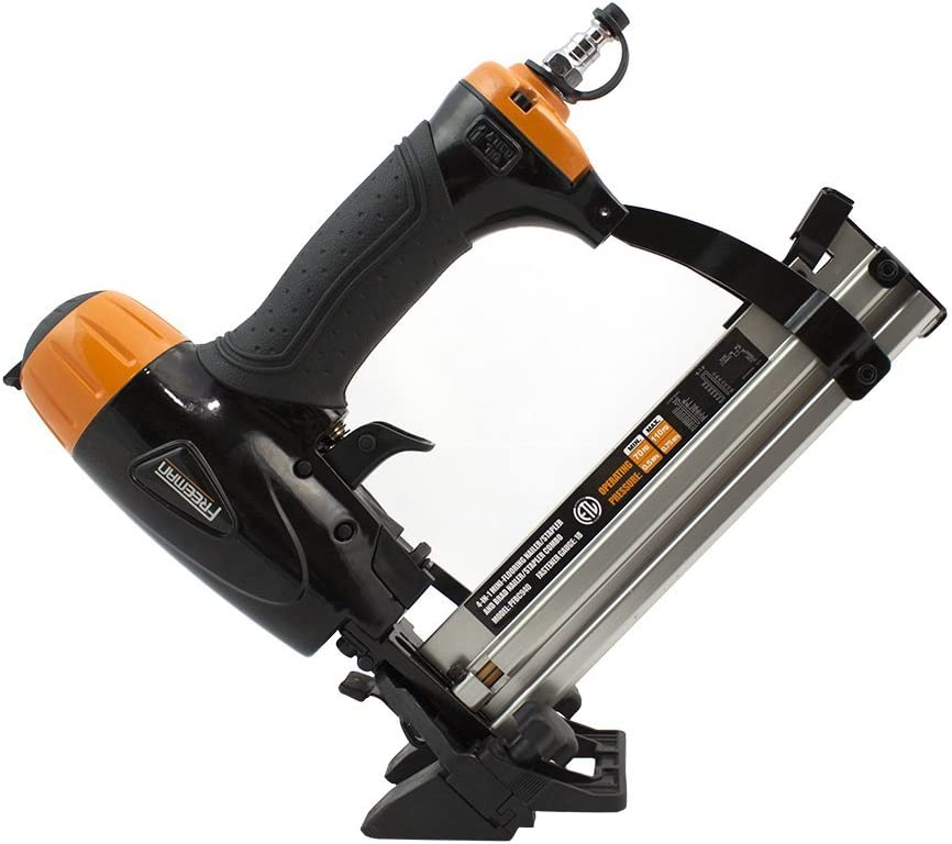 Freeman PFBC940 Pneumatic 4-in-1 18-Gauge 1-5 8 Mini Flooring Nailer and Stapler Ergonomic and Lightweight Flooring Nail Gun with Tool-Free Quick Release Latch