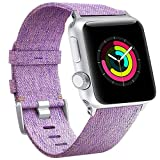 For 38mm Apple Watch Band Women, Woven Canvas Nylon Purple iWatch Bands Replacement Wristband Strap for 38mm New Apple Watch Series 3 Series 2 / Series 1 (Woven/Purple, 38mm)