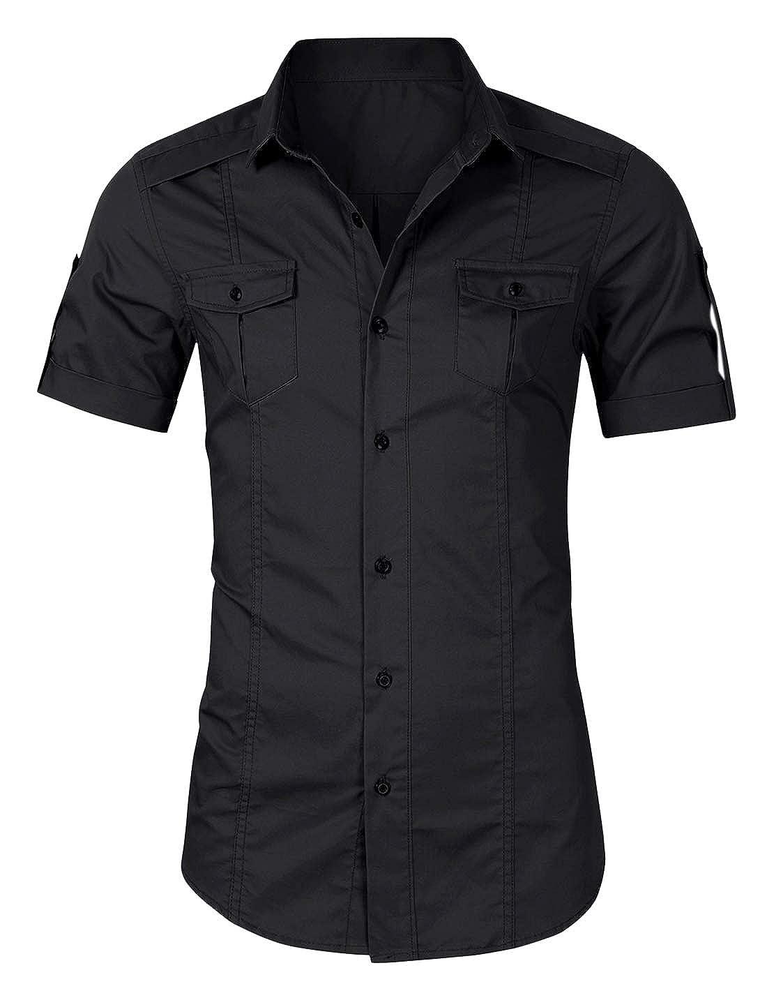 Lentta Mens Military Casual Slim Short Sleeve Shirt Button Up Cargo Work Shirts