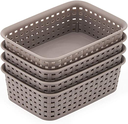 Plastic Organizing Bin Waikhomes 4 Packs Grey Basket for Storage