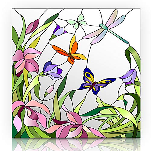 Ahawoso Canvas Print Wall Art 12x16 Inch Room Mosaic Stained Glass Red Window Flowers Butterflies Floral Modern Artwork Printing Home Decor Wrapp Gallery Painting (Wall Mosaic Butterfly Art)