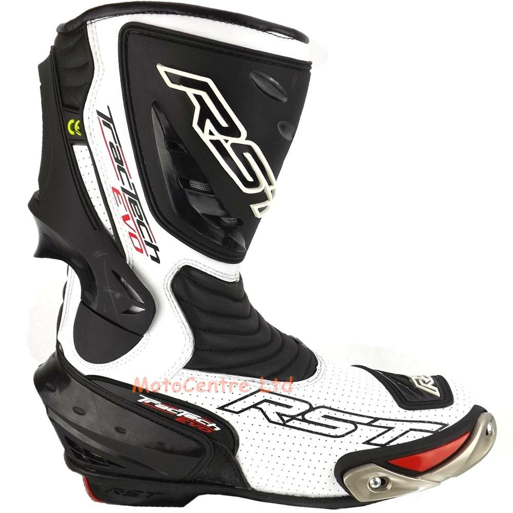 RST TRACTECH EVO MOTORCYCLE LEATHER BOOTS CE CERTIFIED WHITE UK 11 EU 46