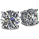 14k Gold Post & Sterling Silver 4 Prong Swarovski Pure Brilliance CZ Stud Earrings CZ 1.0 to 8.0ctw