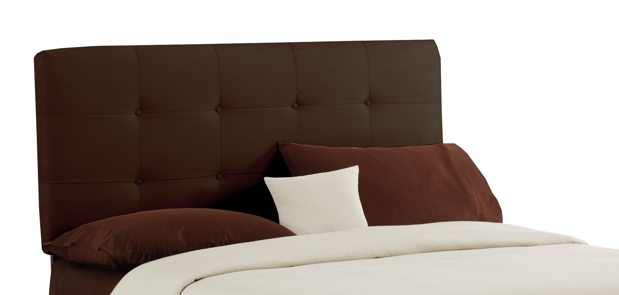 Skyline Furniture Surrey Queen Micro-Suede-Upholstered Tufted Headboard, Chocolate