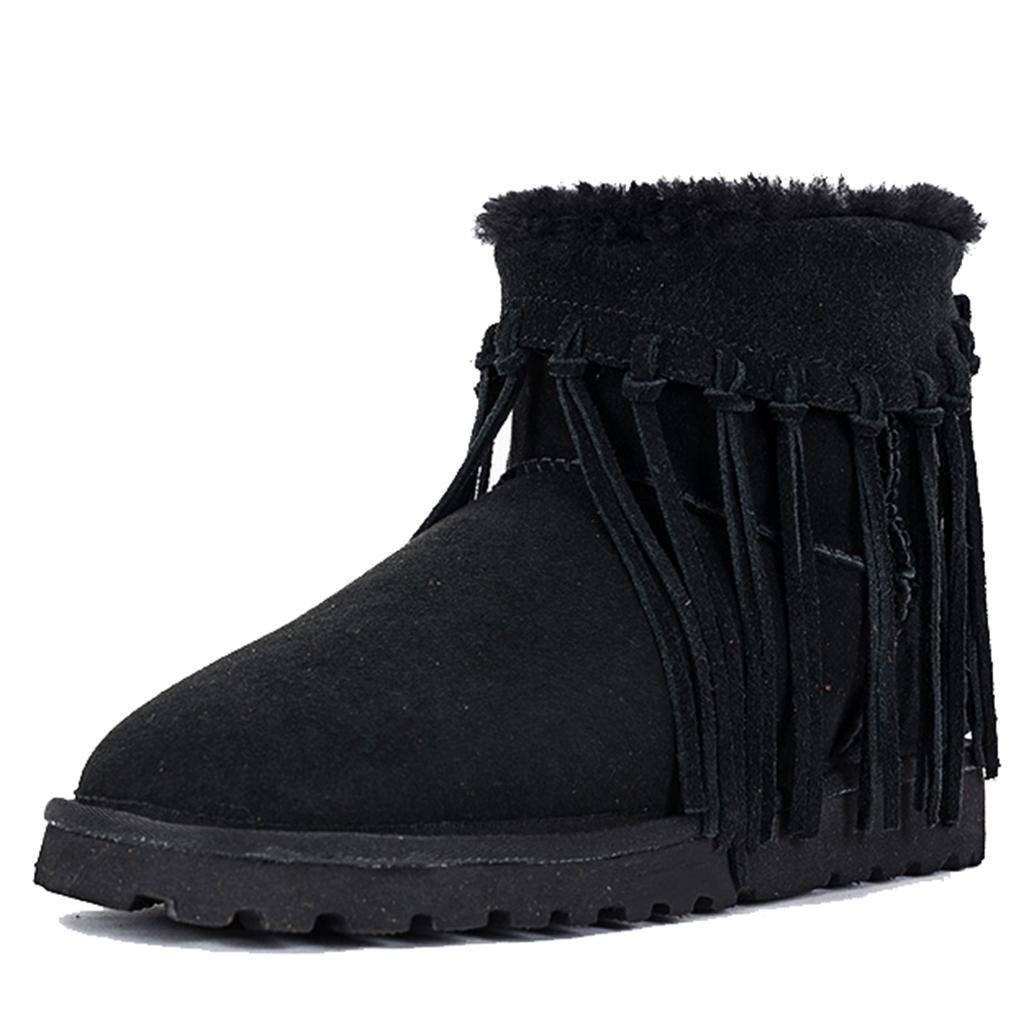 Black L&L Female Waterproof Winter Snow Boots Low Tube Boots