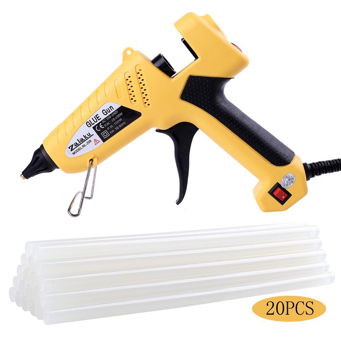 Zalaku 100 Watt Hot Glue Gun with 20pcs Glue Sticks High Temperature Hot Melt Glue Gun for Arts & Crafts, & Sealing and Quick Repairs
