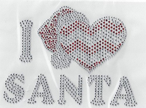 Christmas Rhinestone, I love Santa Hotfix, Iron On, Heat Press