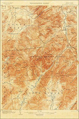 Poster 1892 Topographic Map Mount Marcy Area, Adirondack Mountains