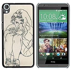 DIY PHONE CASE / Slim Protector Hard Shell Cover Case for HTC Desire 820 / Sketch Painting Woman by ruishername