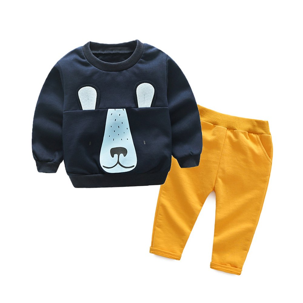 Tem Doger Toddler Little Boys' Navy Blue Cartoon 2 Piece Sweat Shirt and Pant Set (120/5T)