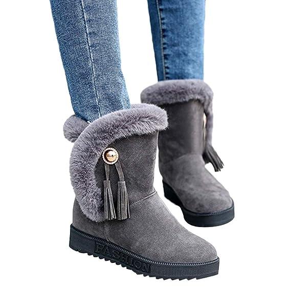 Viernes Negro JiaMeng Zapatos Botas de Trabajo Zapatos Planos con Punta Redonda y Borla de Felpa Mantenga cálidas Botas para la Nieve sin Cordones: ...