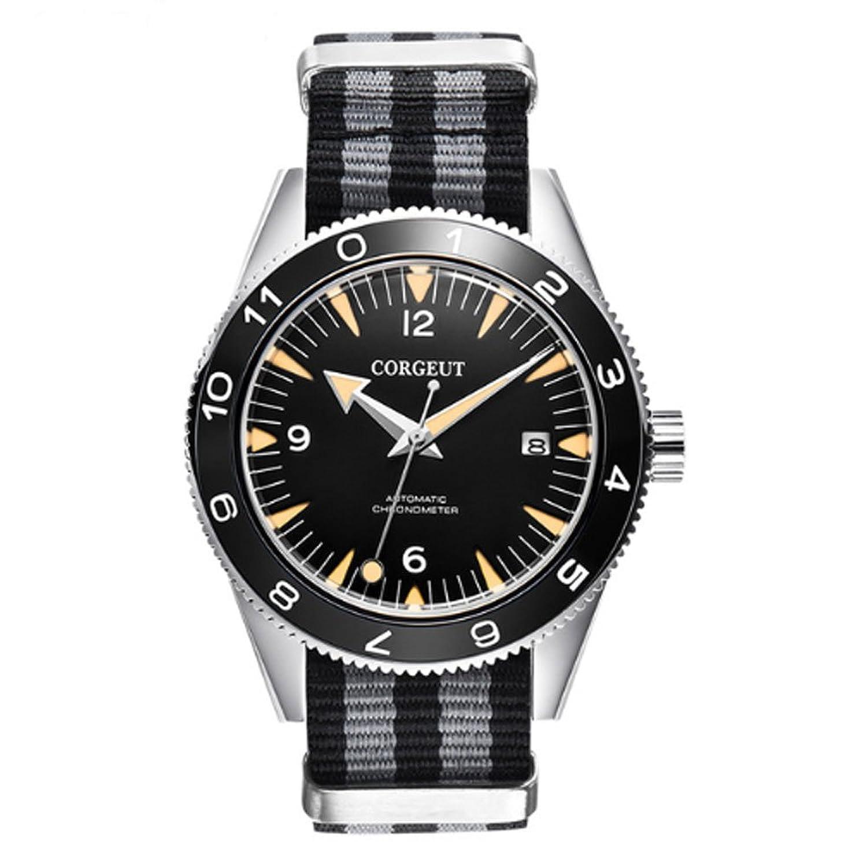 corgeut 41 mmサファイアガラスブラックダイヤルMiyota 821 A自動移動メンズ腕時計cor2 B07D54YZSD