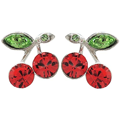 20bf26f8e Cherry Stud Earrings with Crystal Stones, Made in USA!, in Silver Tone with  Red Finish: Jewelry