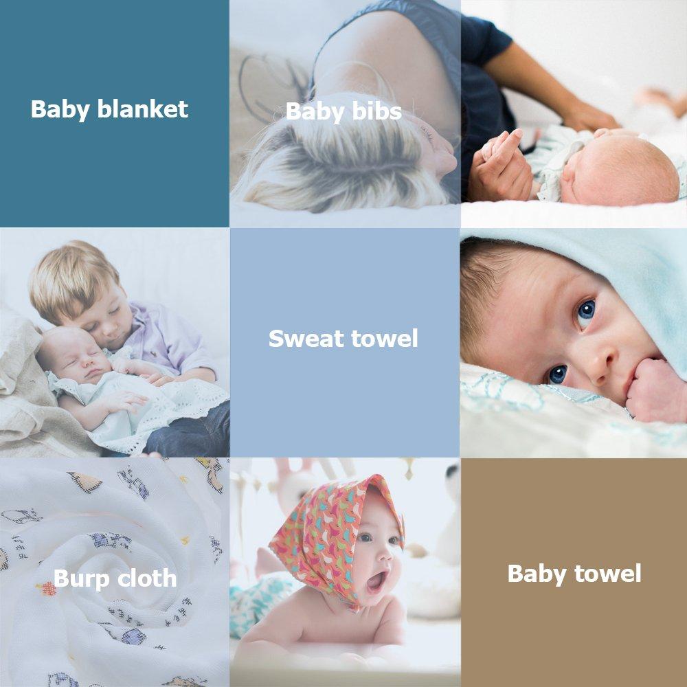 Decdeal Baby Musselin Swaddle Decke 120x120cm Wickeltuch Badetuch Kuscheldecke 6-Lagig Musselin-Baumwolle