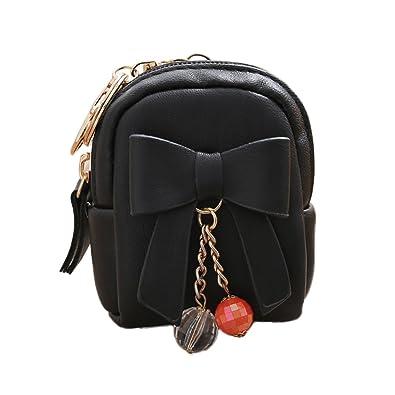 Women Faux Leather Mini Bowknot Keychain Dangle Bead Pendant Bag Coin Purse  - Black lyhhai  Amazon.co.uk  Shoes   Bags 3c5272c6e