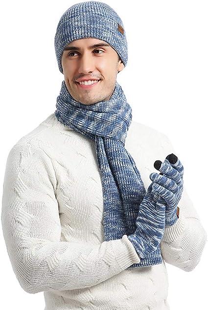 Men/'s Male Winter Outdoor Sport Fleece Lined Hat Neck Warm Scarf Gloves Mittens