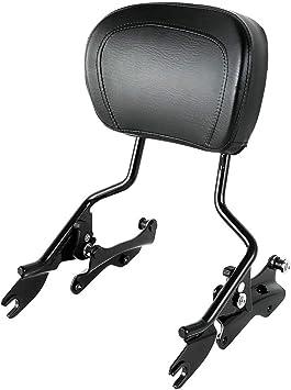Black AUFER Detachable Upright Passenger Sissy Bar Backrest w//Pad with 4 Point Docking Hardware Kit For Touring Road King Street Glide Electra Glide Road Glide 2014-2020