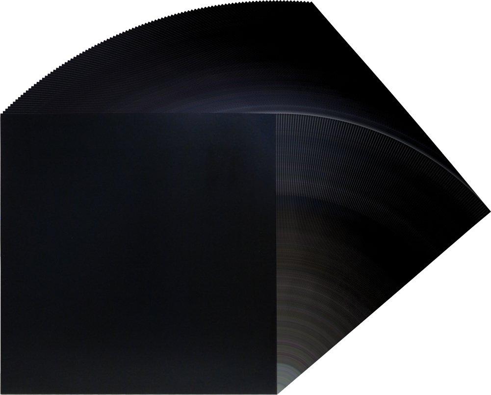 (100) 12'' Record Jackets - Glossy Black - No Hole - 12JWBK