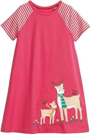 Vestido de algodón de niñas pequeñas Niños Niñas Verano Vestido de algodón de manga corta informal