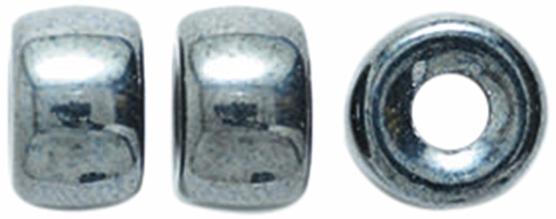 Preciosa Ornela Traditional Czech Glass Crow Roller 50-Piece Beads, 9mm, Gunmetal Shipwreck Beads 9RC309