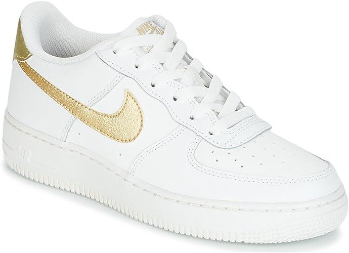 Nike Air Force 1 (GS) Basketball, Sneaker für Mädchen, weiß