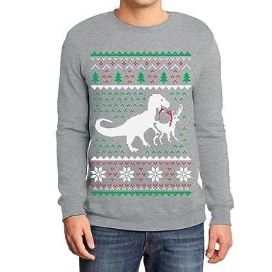 Weihnachten Lustiges Motiv T-Rex Vs Rentier Geschenk Sweatshirt Small Grau