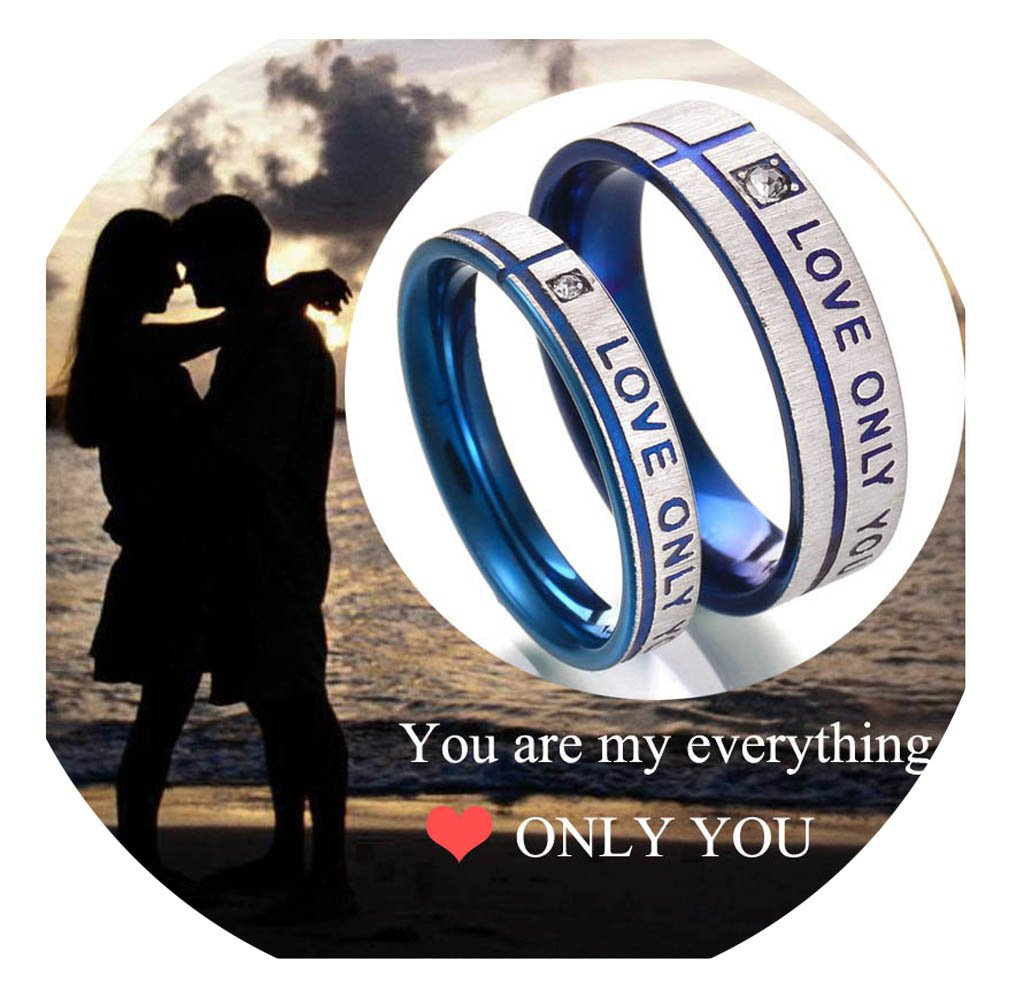 Stainless Steel Couples Ring His & Hers Real Love Heart Engraved Love Only You Promise Ring Wedding Engagement Bands Top Ring 4EAELove