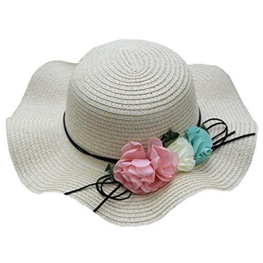 Girl's Accessories Cute Kids Summer Crochet Straw Beach Sun Hat With Flowers