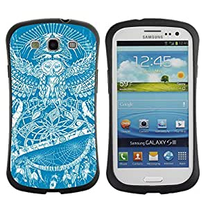 Hybrid Anti-Shock Bumper Case for Samsung Galaxy S3 / Owl Tattoo Pattern