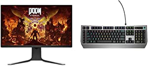 Alienware New AW2720HF 27 Inch FHD IPS LED Edgelight 2019 Monitor & Dell Alienware Pro Gaming Mechanical Keyboard - 16.8M RGB 13 Zone-Based Lighting - 15 programmable Macro Key Functions, Silver