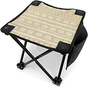 Tinmun Outdoor Travel Folding Small Chair-Portable, Beige White Mudcloth African Ethnic Apply for Camping, Fishing, Hiking, Gardening, Beach, Lightweight and Easy to Carry