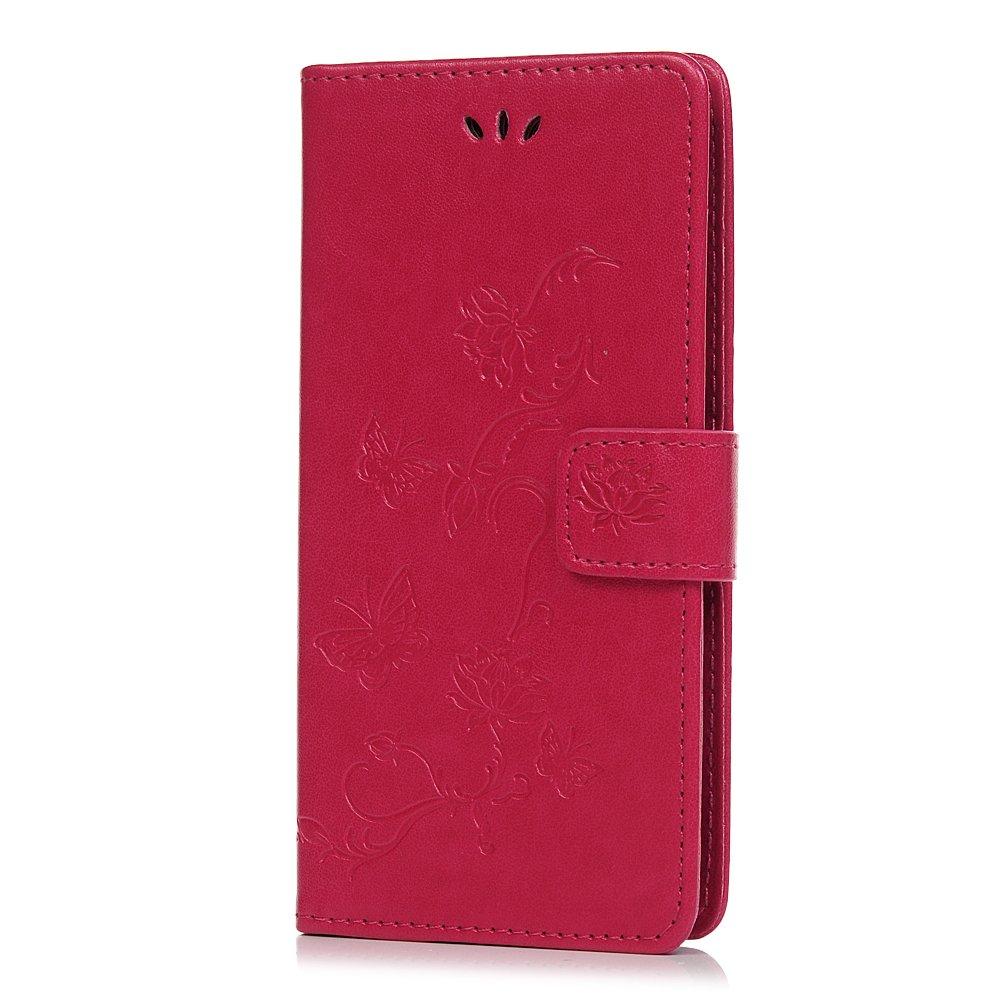 Huawei P Funda de piel sintética con tapa tipo cartera para Huawei P con diseño de mariposa de loto en relieve con soporte para tarjeta de identificación, funda protectora de TPU para Huawei P Smart/Enjoy 7S, rosa Tophung