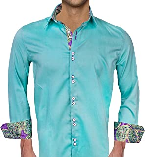 product image for Green with Purple and Gold Designer Dress Shirts - Made in USA